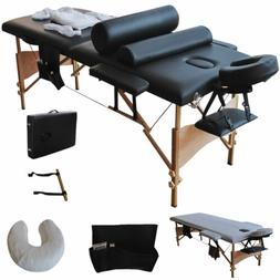 "2 Fold 84""L Portable Facial Massage Table Bed W/Sheet+Cradle"