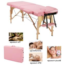 2-Fold Massage Table Bed Facial Spa Bed Adjustable Portable