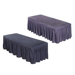 2pcs Solid Color Pro Massage SPA Bed Table Skirt w/ Hole for