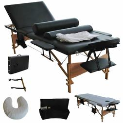 "3 Fold 84""L Massage Table Facial Bed Portable W/2 Bolster+Sh"