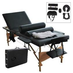 "3 Fold 84"" Portable Massage Therapy Table Bed w/2 Bolster+Cr"
