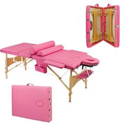 3 Foldable Massage Table Facial SPA Bed Tattoo Height Adjust