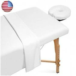 Saloniture 3-Piece Flannel Massage Table Sheet Set - Soft Co