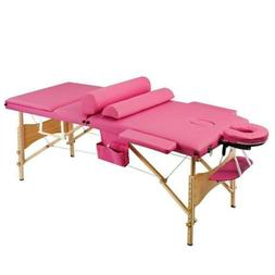 3 Sections Folding Portable Beauty Massage Table Set 70CM Wi