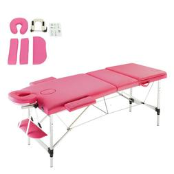 "84"" 3 Fold Aluminum Frame Massage Table Facial SPA Bed Healt"