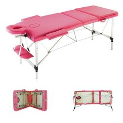 "84""L 3 Foldable Aluminum Beauty Massage Table Facial Salon S"
