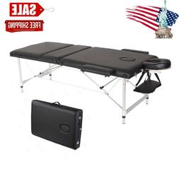 84''L Aluminium Massage Table 3 Fold Adjustable Portable SPA