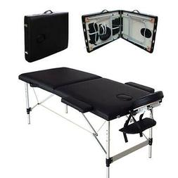 "84""L Aluminum 2 Fold Portable Massage Table Facial SPA Bed T"