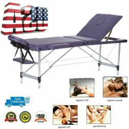"84""L Black 3 Fold Portable Massage Table Facial SPA Bed Tatt"
