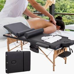 "84""L Portable 3 Fold Massage Table Facial Spa Bed W/2 Pillow"