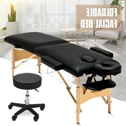 """84""""L Portable Foldable Massage Table Facial SPA Bed W/Stool"""