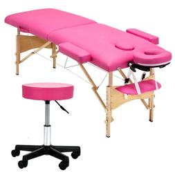 "84""L Portable Foldable Massage Table Facial SPA Bed W/Stool"
