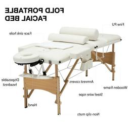 "84""L Portable Massage Table 3 Fold Facial SPA Bed Sheet+2 Bo"