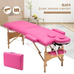 "84""L Portable Pink Fold Massage Table Facial SPA Beauty Bed"