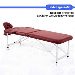 "84""L Wine Fold Portable Massage Table Facial SPA Beauty Bed"