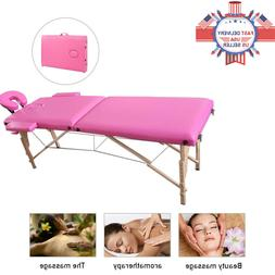 84'' Portable Massage Table 2-Fold Bed Spa Bed Foldable Salo