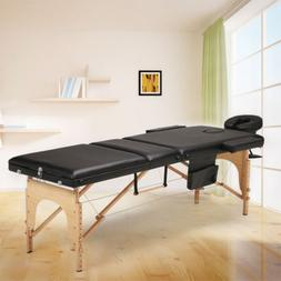 "85"" Massage Table Facial SPA Bed Wood Portable Couch Beauty"