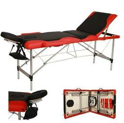 Portable 3 Fold Massage Table Aluminum Facial SPA Bed W/Free