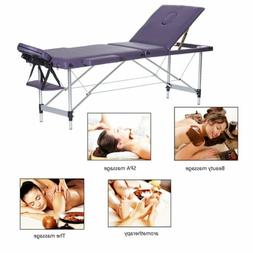 Aluminum 3-Fold Massage Table Facial SPA Bed Tattoo w/ Free