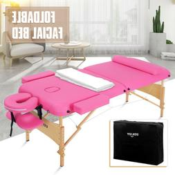 "84""L Fold Portable Massage Table Facial Bed Spa w/Neck Bolst"