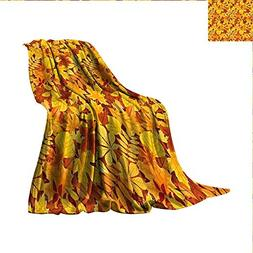 smallbeefly Autumn Digital Printing Blanket Shady Fall Oak M