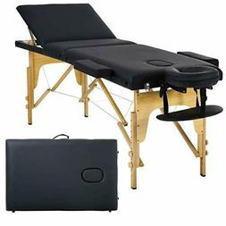 Black 3 Section Portable Massage Table Facial SPA Bed Tattoo