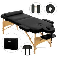 "Black 84""L Fold Portable Massage Table Facial SPA Bed Tattoo"