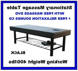 New Black Heavy Duty Easy Setup Stationary Spa Massage Table