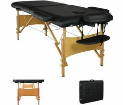 Black Portable Massage Table w/Free Carry Case Chair Bed Spa