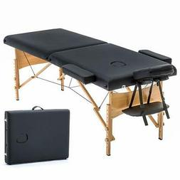 "200BestMassage 2"" Pad 84"" Black Massage Table Free Carry Cas"