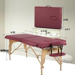 BestMassage Burgundy PU Portable Massage Table w/Free Carry