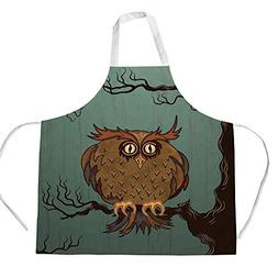 iPrint Cotton Linen Apron,Two Side Pocket,Owls Home Decor,Ex