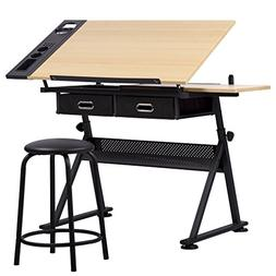 Drawing Desk Station Tempered Glass Adjustable Drafting Tabl
