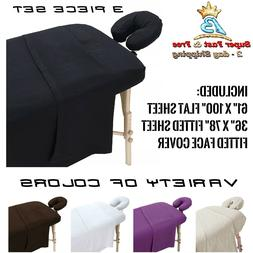Extra Thick Cotton Flannel Massage Table Bed Cover 3 Pack Se