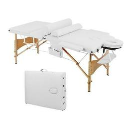 """Foldable 84"""" Wooden Frame Massage Table Bed White  Spa  Salo"""