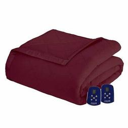 Thermee Micro Flannel Electric Heated Blanket, Queen, Red