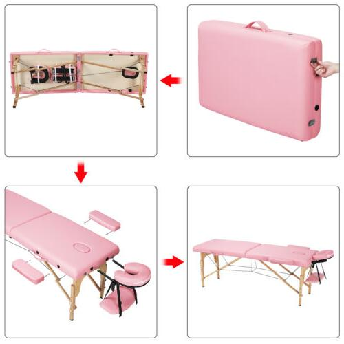 2-Fold Adjustable Massage Table Portable Couch Case