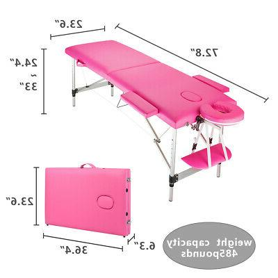 2 Sections Aluminum Foot Table Pink