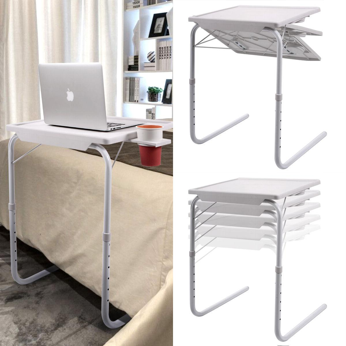 2 Table Adjustable Foldable W/Cup Holder