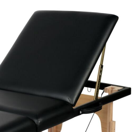 3 Massage Table Adjustable Facial SPA Bed Black