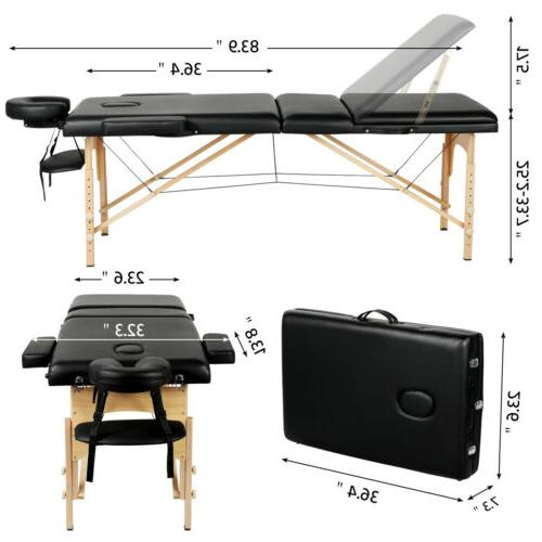 3 Adjustable Facial Salon Bed Tattoo Black
