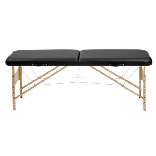 "73""L Pro Fold Massage Table Bed w/ Bag Black"