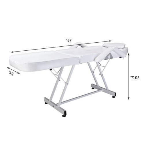 """75"""" White Table Chair Bed"""