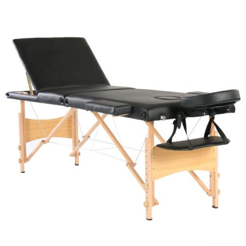 "84""L 3 Fold Portable Massage Table Facial SPA Bed Tattoo w/F"