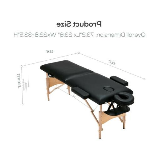 "84""L Portable Foldable Table Facial SPA W/Stool Swivel Black"