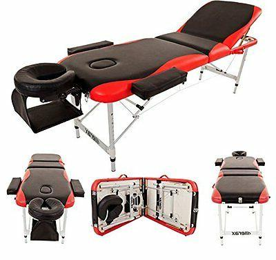 Merax Portable Folding Massage Bed, 3-Section Synthetic Leat