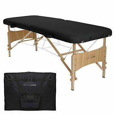 basic portable folding massage table black black
