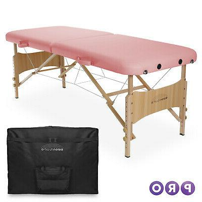 basic portable folding massage table pink