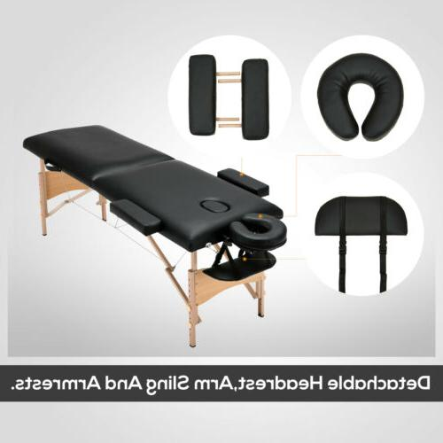 "Black 84""L Portable Massage Bed Tattoo w/Free Carry Case"
