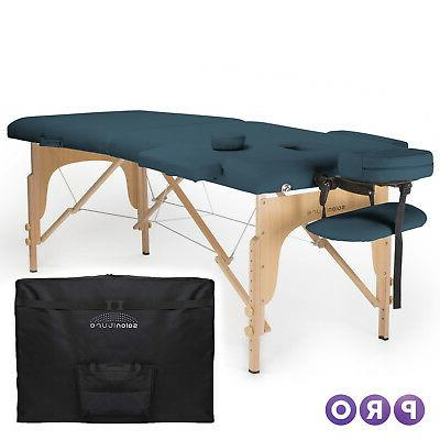 blue portable massage table with carrying case